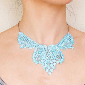 SALE blue lace necklace choker  vintage women jewelry gift silver charm