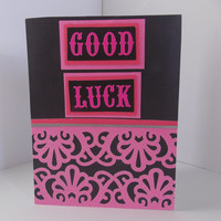 Good Luck! - Pink and Black Handmade Greeting Card - For Her - Graduation - College - Moving Away - Inside Blank
