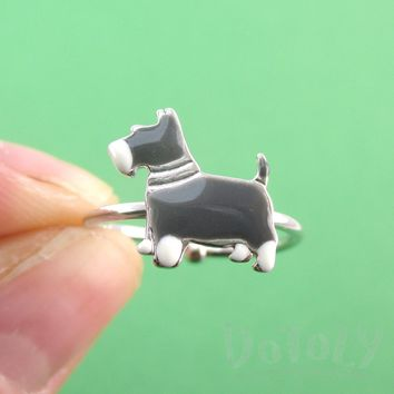 Miniature Schnauzer Dog Shaped Adjustable Ring in Silver for Dog Lovers