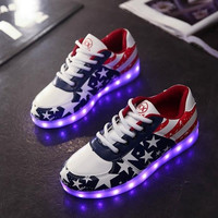 New Fashion Hot Selling Emitting Luminous Casual star Shoe Men Women Couple LED Sneakers USB Charging Lights shoes = 1930120388