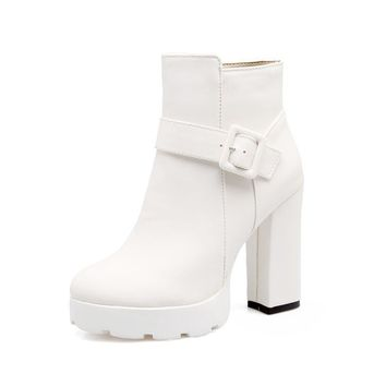 Buckle Zip Ankle Boots High Heels for Women 5164