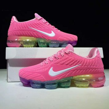 NIKE AIR VAPORMAX FLYKIT Fashion Flats Sport Shoes Running Sneakers Rose red G-CSXY