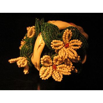 The Gilded Age Porcelain Flower Basket Beaded Planter
