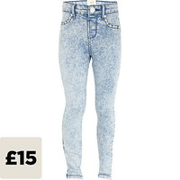 Girls blue acid wash studded jeggings