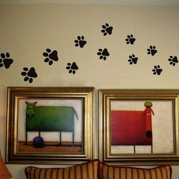 Paw Print Wall Stickers - 20 Walking Paw Prints Wall Decal Home Art Decor Dog Cat Food Dish Room House Bowl Sticker p2052