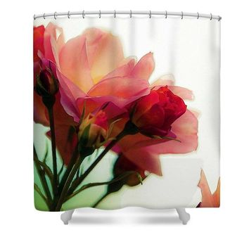Watercolor  Pink Roses - Shower Curtain