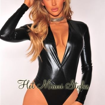 Black Metallic Long Sleeves Bodysuit