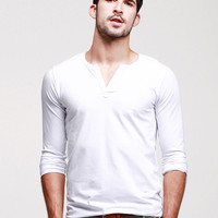 Plain Long-Sleeve Pullover Shirt