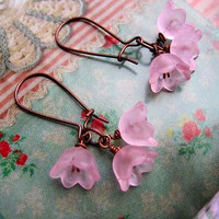 Pink flower bridesmaid earrings