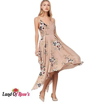 e7d30418b5224 Vintage Spaghetti Strap V Neck Backless Floral Print Asymmetric. Gender:  Women Style: Bohemian Silhouette: Straight Dresses ...