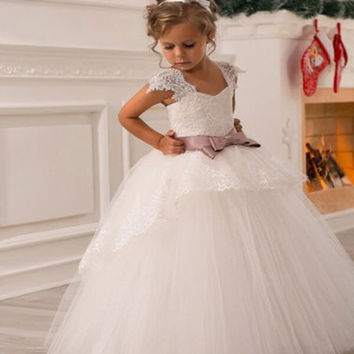 2016 New Wedding Party Formal Flowers Girl Dress Baby Pageant Dresses Birthday Cummunion Toddler Kids Tulle Custom