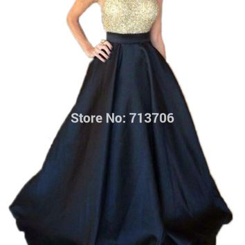 Menoqo New Arrival Elegant Women's Halter Neck Sequins Satin Prom Dresses A line Evening Dress Pageant Gown Black