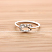 girlsluv.it - sterling silver, tiny KNOT HEART ring with crystals