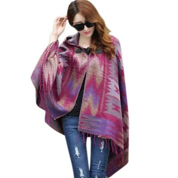 ONETOW Fall Winter Fashion Cloak Cape Women Bohemian Collar Plaid Cape Cloak Poncho Jacket Coat Shawl Scarf LM93