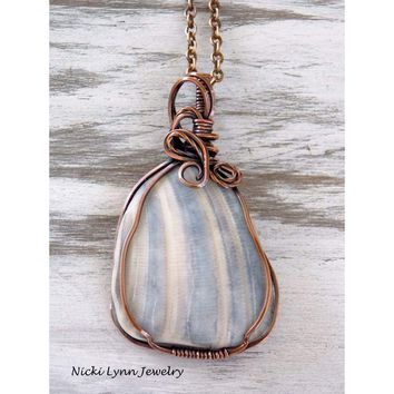 Copper Wire Wrapped Shell Necklace