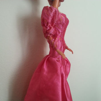 Vintage Barbie Dress, Barbie Doll Princess, Pink Gown, 1990s Barbie,Miniature Doll Clothes