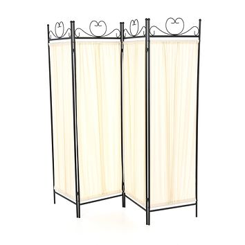 Black Metal 4-Panel Room Divider with Off-White Fabric Screen