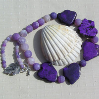 """Statement Crystal Gemstone Necklace Purple Magnesite & Frosted Agate  - """"Purple Stream"""""""
