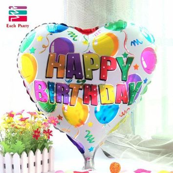 CREYONHS 18 inch birthday heart air balls aluminum foil balloons happy birthday party decorations kids helium balloons party supplies