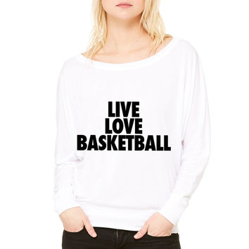 Live Love Basketball basketball WOMEN'S FLOWY LONG SLEEVE OFF SHOULDER TEE