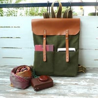 Army Green Waxed Canvas Backpack with Adjustable Cotton Strap /Waterproof Backpack / School / Rucksack / Weekender Bag