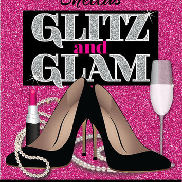Glitz and Glam Adult Birthday Party Invitation - Glamorous and Sexy Birthday Invitation 30th, 40th, 50th, 60th, 70th, 80th