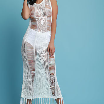 Sleeveless Shredded Knit Tassel Cover Up Maxi Dress | UrbanOG