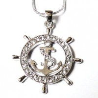 "DianaL Boutique Nautical Ship Wheel and Anchor Charm Pendant Necklace on 21"" Chain Rhodium Plated Gift Boxed Fashion Jewelry"