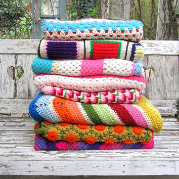 60s GRANNY NEON Crochet Blanket Multicolor Stripes // Vintage Clothing by TatiTati Vintage on Etsy