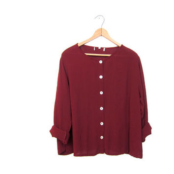 maroon red sheer rayon shirt seashell buttons up blouse long sleeve simple loose fit slouchy top wine red basic blouse Womens small medium