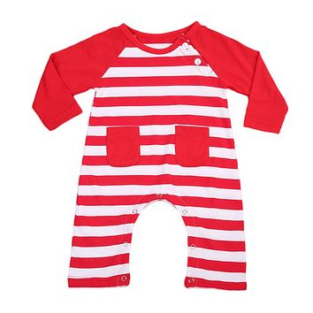 Christmas red striped Autumn Spring Newborn Infant Kids long sleeve Romper Baby Boys Girls Cotton Jumpsuit Clothes Outfit