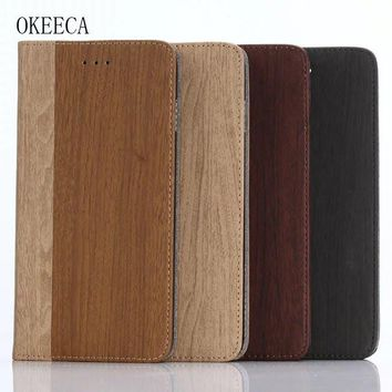 OKEECA Luxury Fashion Wooden Style Wallet Phone Case for iPhone 6 6s 6plus 6splus 7 7plus 2017 New Design High Quality Hot Sale