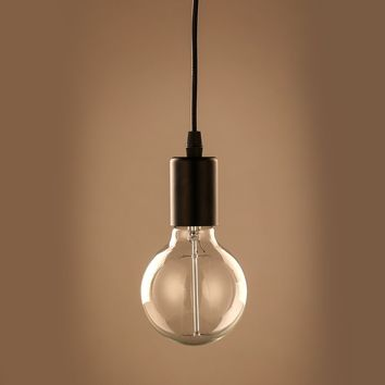Filament Metal Bare Bulb Edison Single Pendant Light - Conner - Black | GFURN