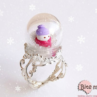 Polymer Clay Jewelry Snowman in a Glass Globe Ring,Terrarium Ring, Christmas Jewelry, Christmas Ring, Snow Globe, Winter Accessories