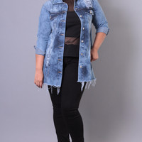 Plus Size Acid Washed Denim Jacket -  Medium Wash