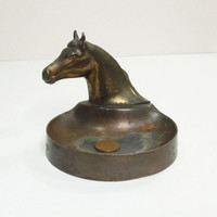 Vintage antique-brass antique-copper or bronze horse horse-head coin dish change dish trinket dish ring dish