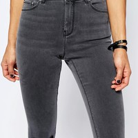 ASOS RIDLEY Skinny Jeans In Slated Grey With Shredded Rips