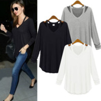 Autumn Womens Casual Loose Tops Long Sleeve Blouse T-shirt