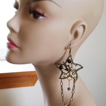bronze Angel star chandelier earrings metal chain fairy charm crystal handmade jewelry