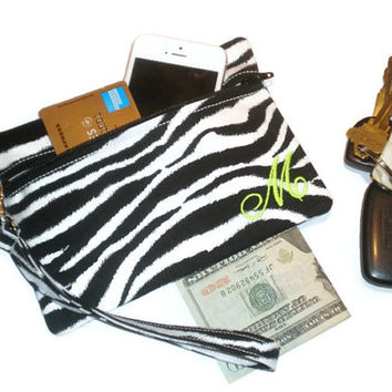 Zebra print wallet, personalized wallet, monogram wristlet, monogram phone bag, zebra print clutch, personalized clutch, zippered wristlet