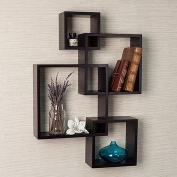 Danya B Espresso Intersecting Cube Shelves - Wall Shelves & Hooks at Hayneedle