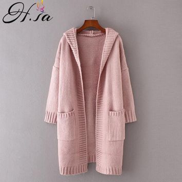 H.SA 2018 Autumn Women Long Knitted Sweater Coat Hooded Sweater Cardigans Poncho Pockets Jumpers Sweater Long Casaco Feminino