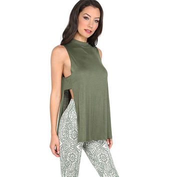Cut Out Back Tank Top Women Army Green Split Side Sexy Sleeveless Summer Tops 2017 New High Neck Loo