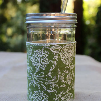 24 oz. Mason Jar Tumbler with Green Floral Insulated Sleeve and BPA Free Reusable Straw