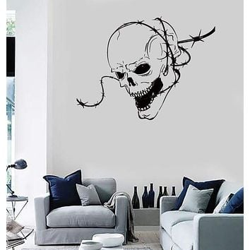 Wall Stickers Vinyl Decal Skull Barbed Wire Zombie Creepy Scary Decor (z2137)