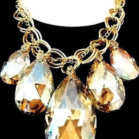 "Topaz Crystal Statement Necklace Gold Curb Chains Massive Huge 24"" Vintage 90s"