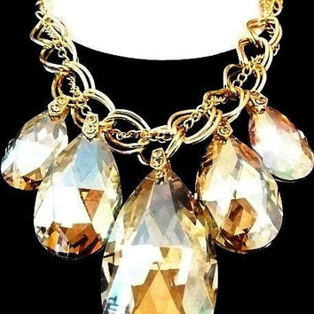Topaz Crystal Statement Necklace Gold Curb Chains Massive Huge 2 6a76b4a15