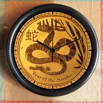 Japanese Year of the SNAKE FENG SHUI  Big 10 inch black wall clock  Ships Tomorrow Have by Christmas