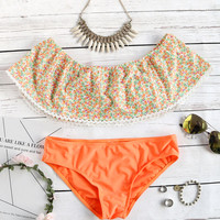 Orange Floral Print Off Shoulder Lace Hem Bikini Set