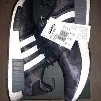 ONETOW BNWT DS AUTHENTIC ADIDAS BAPE NMD BLACK CAMO SIZE UK9.5 US10 EU44